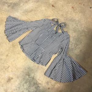 Nanette Lepore Bell Sleeve Gingham Peplum Tie Back